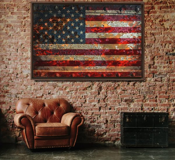 distressed American Flag painted on rusted riveted metal sheet on framed canvas