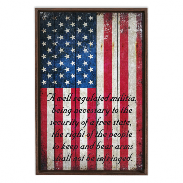 2nd Amendment on Distressed American Flag Painted on Old Barn Wood Print Framed Traditional Stretched Canvas