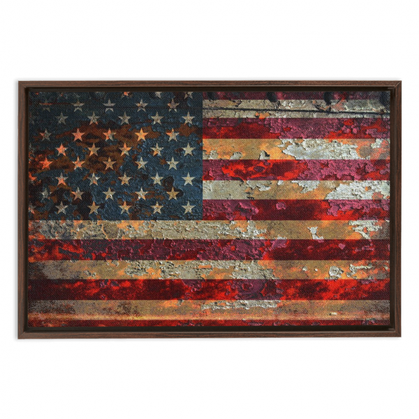 Distressed American Flag On Rusted Metal Print Framed Traditional Stretched Canvas