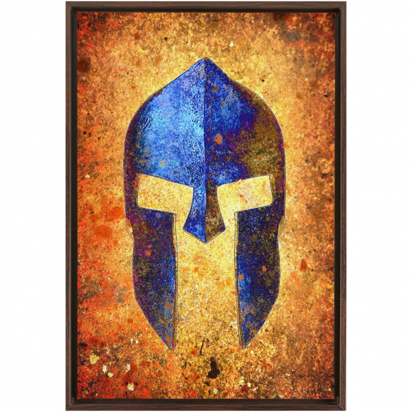 Blue Spartan Helmet On Distressed Rusted Background Canvas