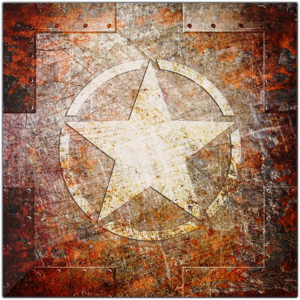 Army Star on Rusted Riveted Metal panel.