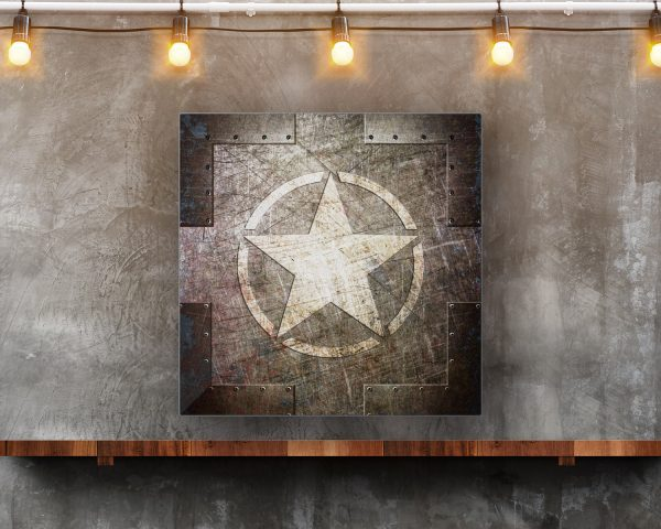 This beautiful art print on metal sheet depicts an Army Star on a Riveted Metal panel. Shown hung in modern loft