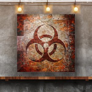 This beautiful art print on metal sheet depicts a Bio Hazard Sign on Rusted Riveted Metal panel.