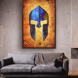Blue Spartan Helmet On Distressed Rusted Background Framed Traditional Stretched Canvas