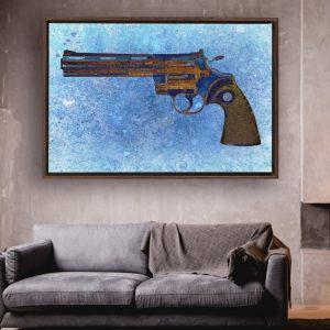 Colt Python 357 Magnum 6 Inches Barrel On Blue Background Print Framed Traditional Stretched Canvas in situ