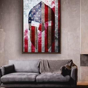 This beautiful print depicts a Spartan Helmet on a Distressed American Flag. it is printed on Artist-grade poly-cotton blend canvas. The canvas is framed in a walnut color European pine floating frame.