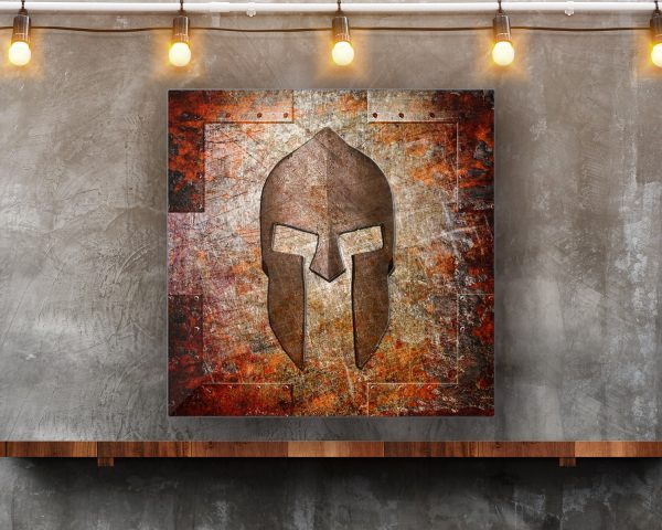 This beautiful art print on metal sheet depicts a Spartan Helmet on Rusted Riveted Metal panel hung on concrete wall