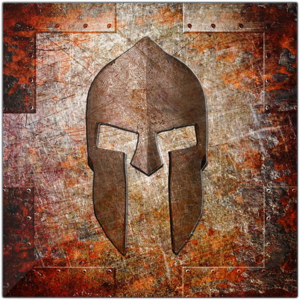 Molon Labe Spartan Helmet On Rust Printed On Eco-Friendly Recycled Aluminum