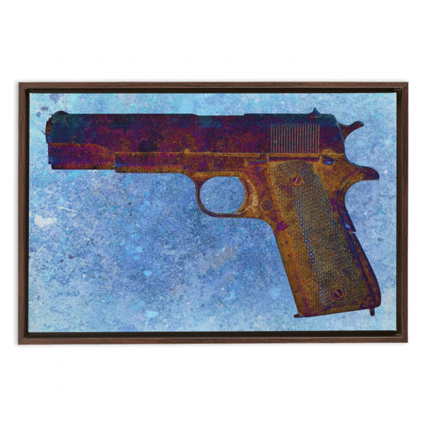 Classic Gun Print - Colt M1911 45 Caliber on Blue Background Framed Traditional Stretched Canvas