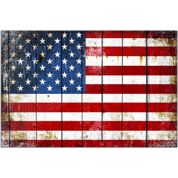 Distressed American Flag on Old Barn Wood.