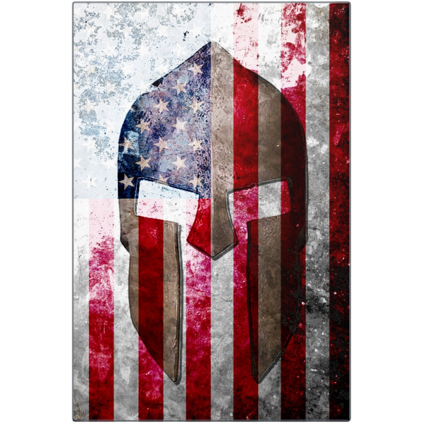 Spartan Helmet On Distressed American Flag Print on Eco-Friendly Recycled Aluminum
