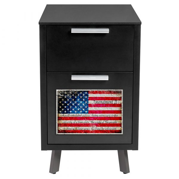 Filing Metal Cabinet Magnet - American Flag & 2nd Amendment Printed on a Small Metal Plate - File cabinet Magnet