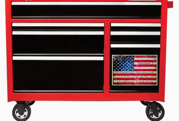 Metal Cabinet Magnet - American Flag & 2nd Amendment Printed on a Small Metal Plate - Large Fridge Magnet