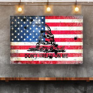 Dont Tread on Me - Gadsden Flag and American Flag With Bullet Holes Print On Eco-Friendly Recycled Aluminum