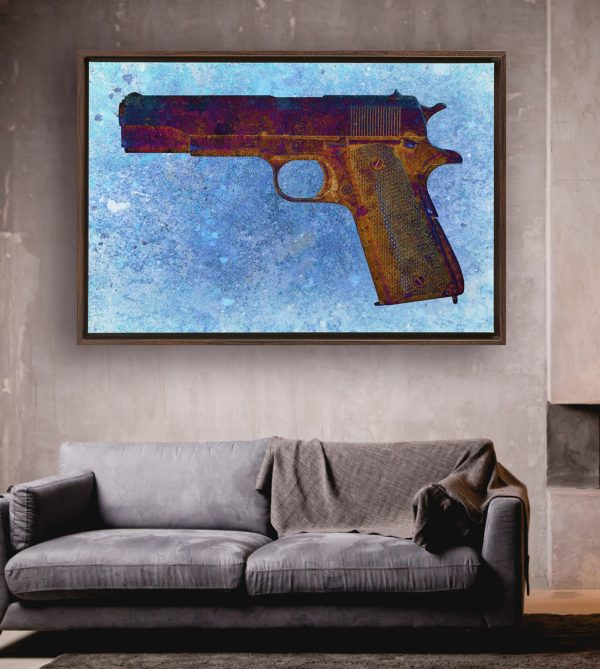 This beautiful print depicts a Colt M1911 45 Caliber on Blue Background.