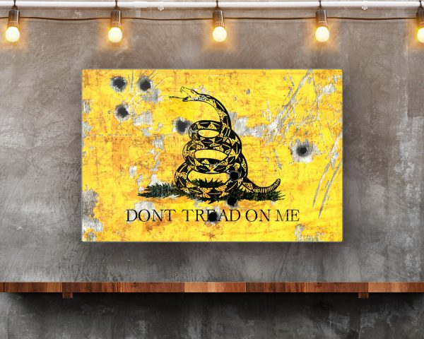 Gadsden Flag With Bullet Holes Print On Eco-Friendly Recycled Aluminum in Situ