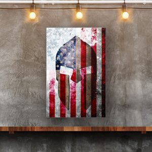 Spartan Helmet On Distressed American Flag Print on Eco-Friendly Recycled Aluminum hung on wall