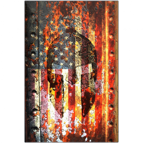Spartan Helmet And American Flag On Rusted Metal Gate Print On Eco-Friendly Recycled Aluminum