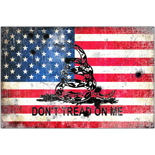 Gadsden Flag and American Flag With Bullet Holes Print On Eco-Friendly Recycled Aluminum