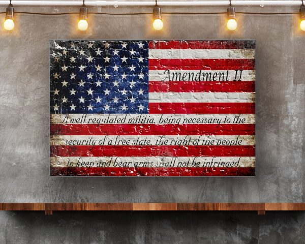 This beautiful print depicts a Distressed American Flag on white washed bricks with the text of the 2nd Amendment printed on the lower half of the flag.