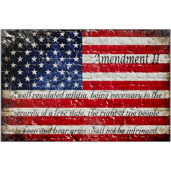 2nd Amendment and American Flag on Bricks Print on Eco-Friendly Recycled Aluminum