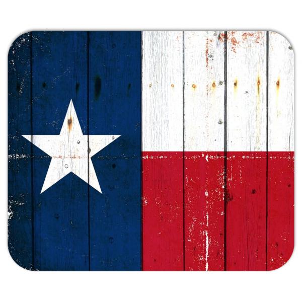 Texas Themed Office Decor - Texas Flag On Old Barn Wood Mouse Pad