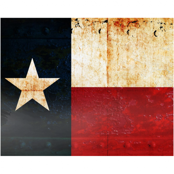 Texas Flag on Rusted Riveted Plate Printed on Rectangular Eco-Friendly Recycled Aluminum