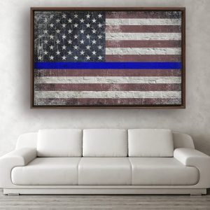Thin Blue Line Distressed American Flag on Brick Wall Framed Traditional Stretched Canvas above sofa