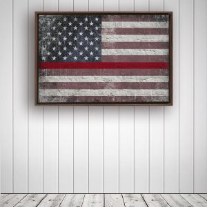 Thin Red Line Distressed American Flag On Brick Wall Framed Traditional Stretched Canvas