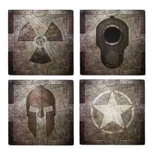 Set of 4 Metal Magnets - Distressed Metal Series - M1911 - Spartan Helmet - Army Star - Radiation Sign