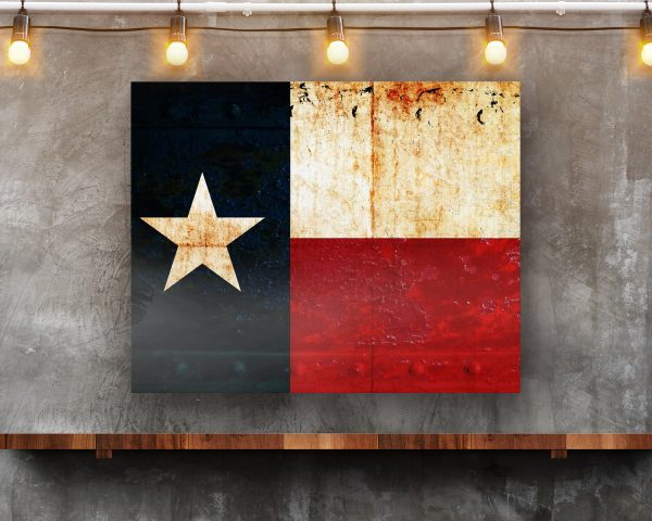 Texas Flag on Rusted Riveted Plate Printed on Rectangular Eco-Friendly Recycled Aluminum in situ