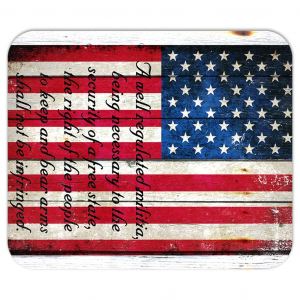 American Flag And 2nd Amendment On Old Barn Wood Print On Mousepad