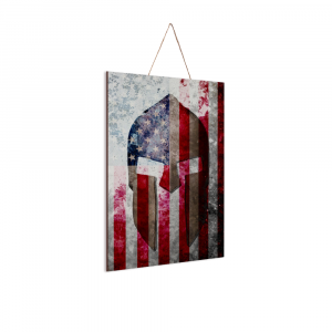 This beautiful print depicts a Spartan Helmet on a distressed American Flag and is printed on 12″ by 8″ sheet of pine wood.