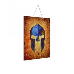 "Molon Labe - Blue Spartan Helmet - Print on Wood 8""x12"" - Made in America"