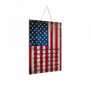 "2nd Amendment on American Flag Vertical Print on Wood 8"" x 12"" - Made in America"
