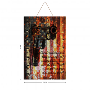 """M1911 and 2nd Amendment on American Flag Vertical Print on Wood 8"""" x 12"""" - Made in America"""
