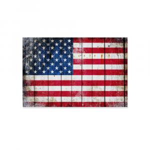 "Distressed American Flag Horizontal Print on Wood 12"" x 8"" - Made in America"