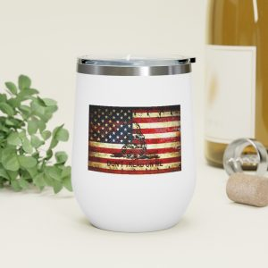 Don't Tread On Me – Gadsden and American Flag Composition Print on 12oz Insulated Wine Tumbler