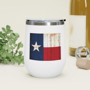 Texas Themed Drinkware - Texas Flag on Brick Wall Print on 12oz Insulated Wine Tumbler.