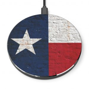 Distressed Texas Flag on Brick Wall Print Phone Charger.