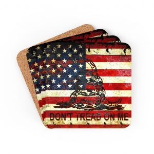 Pro 2A Barware and Drinkware – Don't Tread On Me – Gadsden & American Flag Composition Print Corkwood Coaster Set – Set of 4